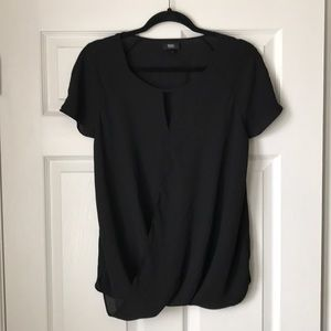 NWOT Draping black wrap short sleeve with keyhole